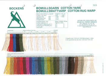 Bockens Cotton Yarn Rug Warp Color Card