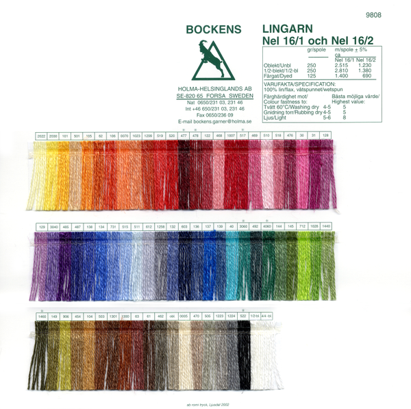 Bockens 16/1 and 16/2 Line Linen Color Card | Color Cards