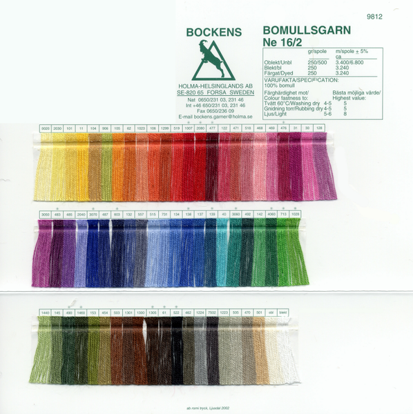 Bockens 16/2 Cotton Color Card | Color Cards