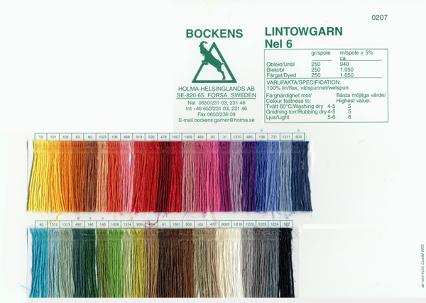 Bockens 6/1 Tow Linen Color Card | Color Cards