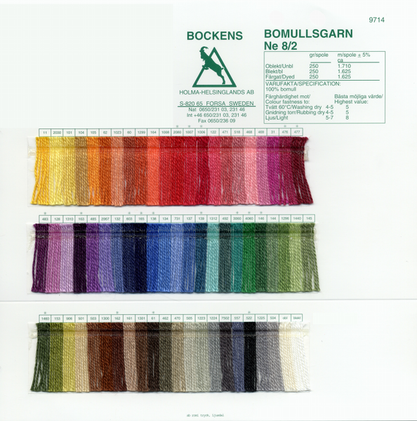 Bockens 8/2 Cotton Color Card | Color Cards