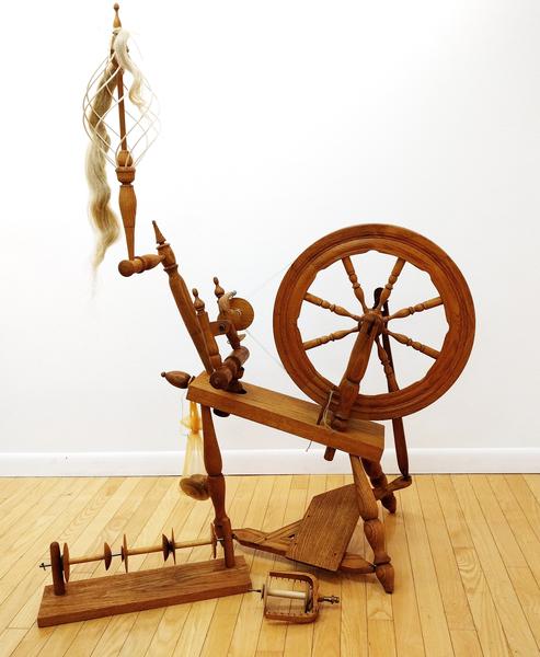 Saxony Flax or Wool Wheel with Distaff | Used Spinning Wheels