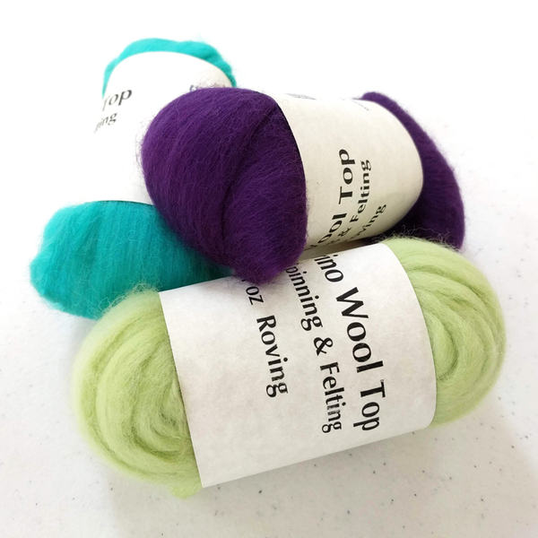 Solid Colored Merino Top - 1 oz | Felting Fibers