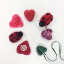 Needle Felting Hearts and Ladybugs!